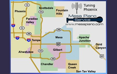 Service Area for Mesa Piano Service