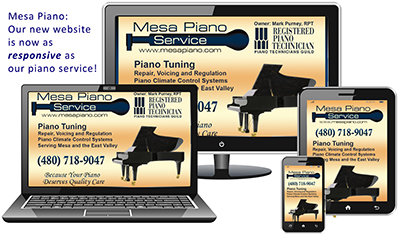New responsive, mobile-friendly website for Mesa Piano Service